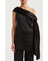 Marina Moscone Twist-detail Crinkled Satin Top - Black