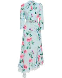 Andrew Gn Asymmetric Floral Silk Midi Dress - Blue