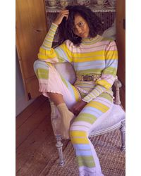 LoveShackFancy Crosby Metallic Striped Cotton-blend Mock-neck Sweater - Multicolor