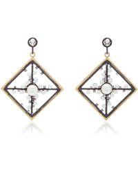 Nancy Newberg - 14k Gold, Oxidized Silver, Diamond And Pearl Earrings - Lyst