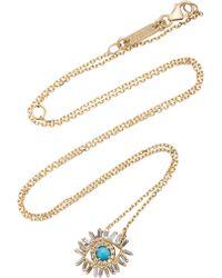 Suzanne Kalan - Small Diamond Turquoise Evil Eye Necklace - Lyst
