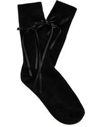 Simone Rocha Ribbon-detailed Stretch-cotton Blend Lace Ankle Socks - Black