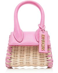Jacquemus Le Chiquito Leather-trimmed Straw Tote - Pink