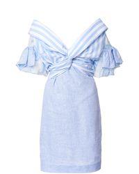 Leal Daccarett Cielo Lindo Striped Linen-blend Dress - Blue