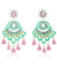 Mercedes Salazar - Fiesta Green And Purple Drop Tassel Earrings - Lyst