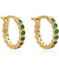 Octavia Elizabeth - Chloe 18k Gold Emerald Hoop Earrings - Lyst