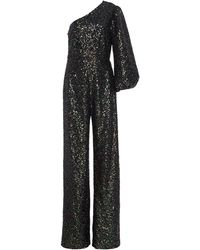 Saloni Lily One-shoulder Sequined Stretch-crepe Jumpsuit - Green