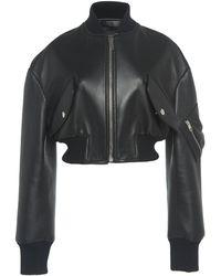 Giambattista Valli Cropped Leather Bomber Jacket - Black
