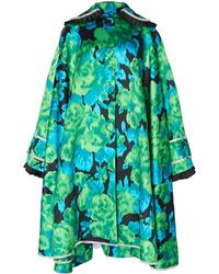 Richard Quinn Embellished Floral-print Moire Coat - Green