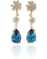 Anabela Chan - M'o Exclusive Aqua Daisy Drop Earrings - Lyst