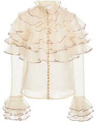 Zimmermann Lucky Tiered Silk Blouse - White