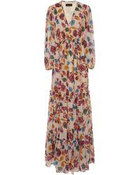 Saloni - Nina Tiered Chiffon Maxi Dress - Lyst