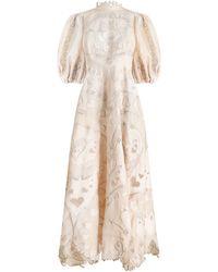 Zimmermann The Lovestruck Silk-linen Lace Gown - White