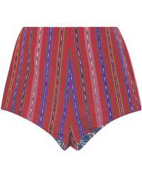 Alix Of Bohemia Roxy Reversible Striped Cotton Mini Shorts - Red