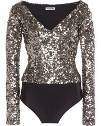 Balenciaga Sequined Jersey Off-the-shoulder Bodysuit - Metallic