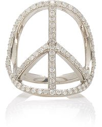 Sheryl Lowe Sterling Silver Diamond Ring - Metallic