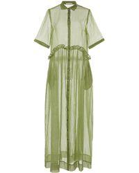 White Story Masquerade Cotton Maxi Dress - Green