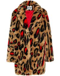 Apparis Ness Printed Faux Fur Coat - Red