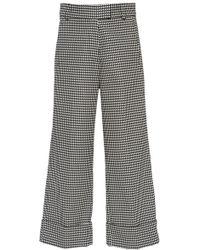Silvia Tcherassi Beatrice Houndstooth Crop Cotton-blend Pant - Black