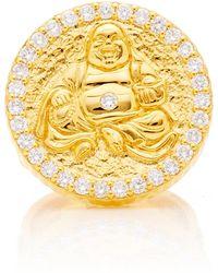 Buddha Mama - 20k Hammered Buddha Coin Ring - Lyst