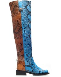 Ganni Mc Snake-effect Leather Knee Boots - Blue