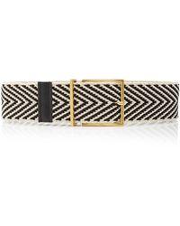 Maison Boinet Leather-trimmed Chevron Waist Belt - Black