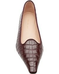 Brock Collection Croc-effect Leather Ballet Flats - Brown