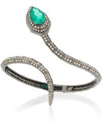 Jack Vartanian - Rhodium-plated 18k White Gold, Emerald And Diamond Bracelet - Lyst