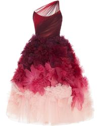Marchesa One-shoulder Ombré Tulle And Organza Midi Dress - Pink