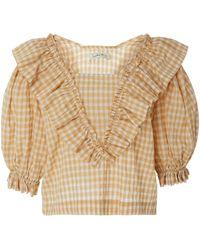Innika Choo Ruffled Cotton Blouse - Brown