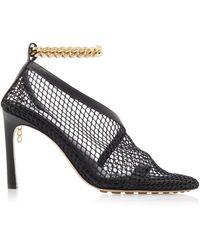 Bottega Veneta Embellished Mesh And Leather Court Shoes - Black