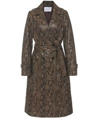 FRAME Embossed Python Trench Coat - Brown