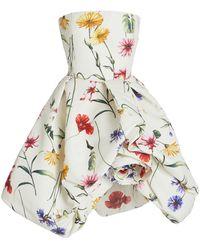 Oscar de la Renta Rosette-detailed Floral Crepe Strapless Mini Dress - Multicolor
