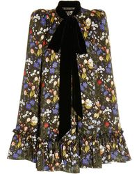 The Vampire's Wife The Confessional Floral Silk Cape - Black