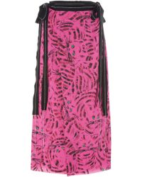 Marni - Joe Printed Satin Midi Skirt - Lyst