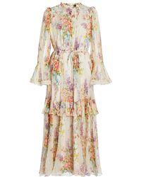 Needle & Thread Floral Diamond Chiffon Gown - White