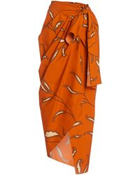 Johanna Ortiz Copper Eco Warrior Cotton Wrap Skirt - Orange