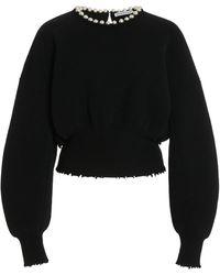 Alexander Wang Pearl-embellished Wool-blend Sweater - Black