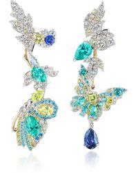 Anabela Chan Butterfly Garden Convertible 18k Gold Multi-stone Earrings - Blue