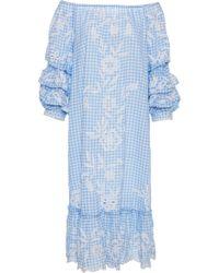 Juliet Dunn - Puff Sleeve Flower Embroidered Dress - Lyst