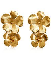 Jennifer Behr Collette Floral Brass Drop Earrings - Metallic