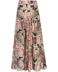 Chufy Dara Printed Cotton-silk Voile Maxi Skirt - Multicolour