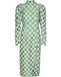 ROTATE BIRGER CHRISTENSEN Theresa Chequered Stretch-linen Side-slit Dress - Green