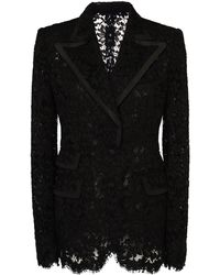 Dolce & Gabbana - Faille-trimmed Lace Blazer - Lyst