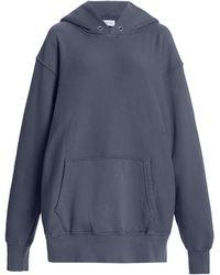 Les Tien Classic Fleece Oversized Cotton Sweatshirt - Blue