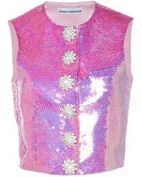 Paco Rabanne Sequin-embellished Cropped Vest - Pink
