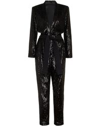 A.L.C. - Kieran Belted Sequined Crepe Jumpsuit - Lyst