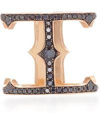 Sylva & Cie - 14k Rose Gold And Black Diamond Cage Ring - Lyst