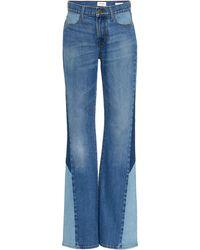 FRAME Le High Patchwork Flared Jeans - Blue