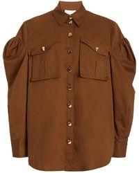 Acler Dunbar Puff-sleeve Cotton Shirt - Brown